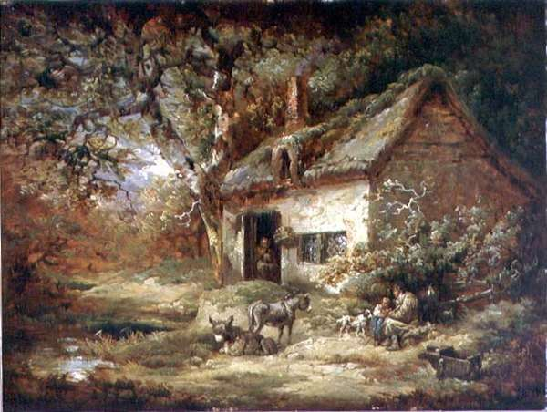 Cottage Door with a Donkey (oil on canvas)