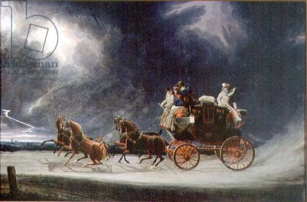 The Norwich Mail Coach in a Thunderstorm on Newmarket Heath (oil on canvas)