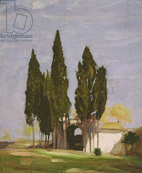 Cypresses, Palatine Hill, Rome, 1908 (oil on canvas)