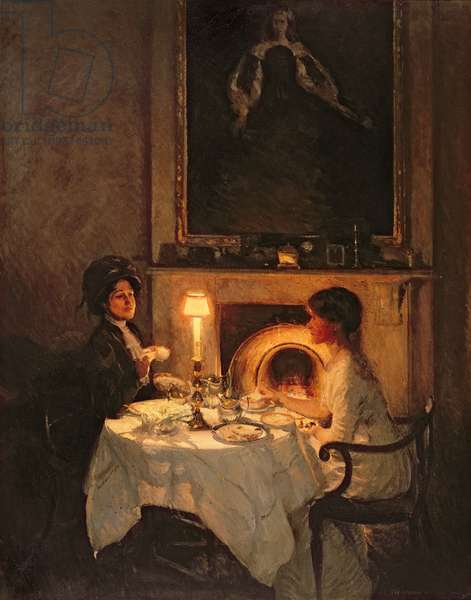 A Caller, Candlelight and Tea (oil on canvas)