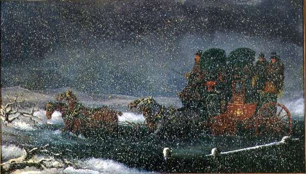 A Stagecoach Fording a Stream in a Snowstorm (oil on canvas)