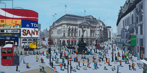 Piccadilly Circus, 2015, (acrylic and ink on canvas)