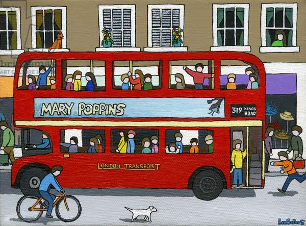London Bus, 2015 (acrylic and ink on canvas)