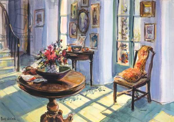 Vanessa's sunlit hall, 1995, (gouache on card)