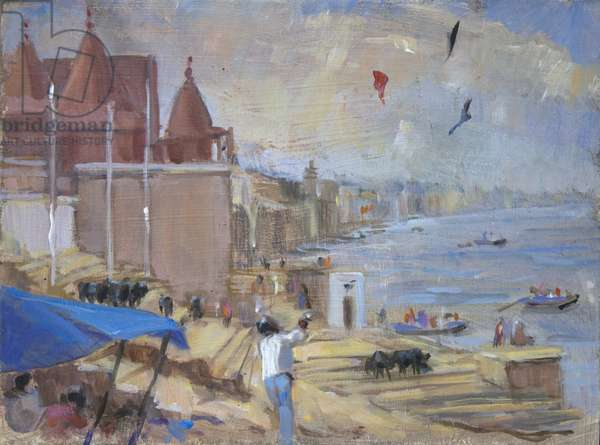 Kite flying at Varanasi, 2012, (oil on board)