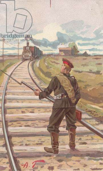 Soldier obstructing train tracks, 1900s (colour litho)
