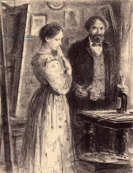 "Natasha and count Valkovsky, Illustration to Fyodor Dostoyevsky's novel ""Humiliated and Insulted"" (1861), 1949 (litho)"