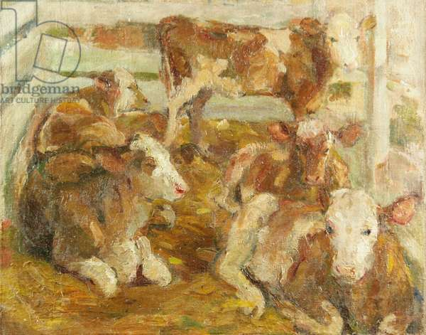 Calves, Altai, near Mongolia, 1940 (oil on canvas)
