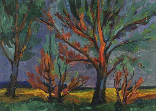 Trees in the Evening Sun, 1961 (tempera on paper)