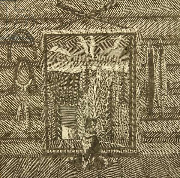 A Hunter's Cabin and His Dog, 2000 (linocut)