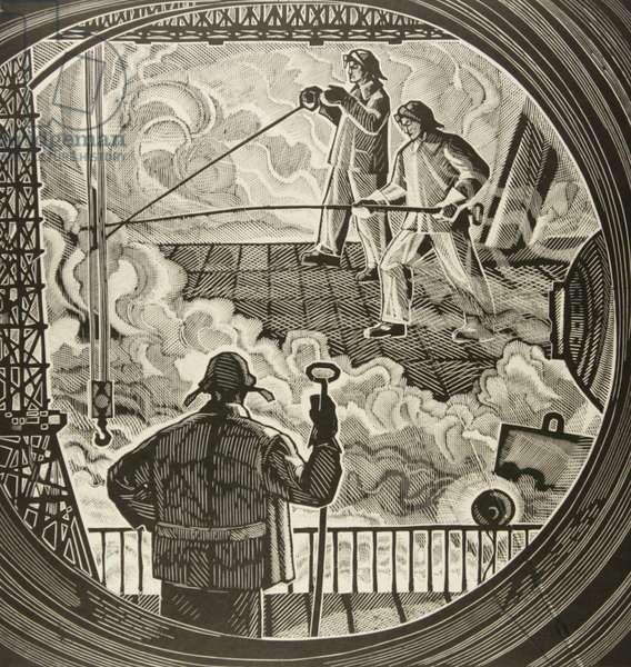 Blast-Furnace Operators, 1965 (linocut)
