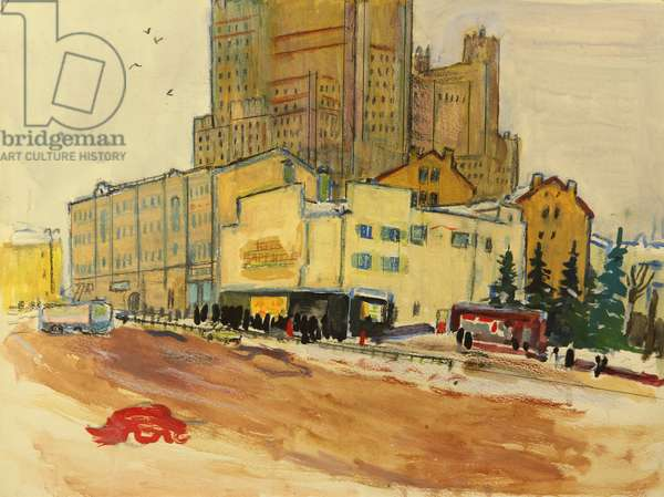 The Stalin Building in the Background of the Cinema on Barrikadnaya street in Moscow, 1960s (tempera on paper)