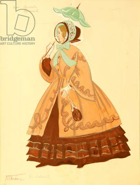 Costume Design for 'A Profitable Place', Alexander Ostrovsky, 1857, 1967 (gouache on paper)