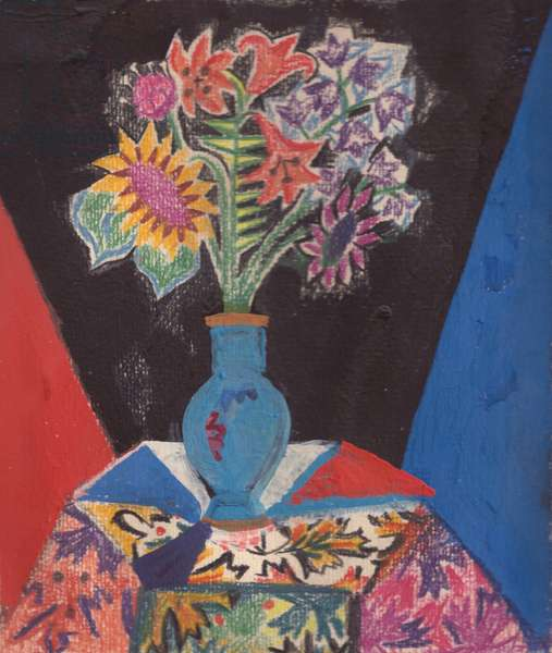 Still Life - Flowers on coloured Table, 1981 (tempera & pastel on paper)