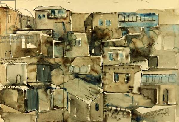 Houses in Gunib, Dagestan, 1973 (watercolour on paper)