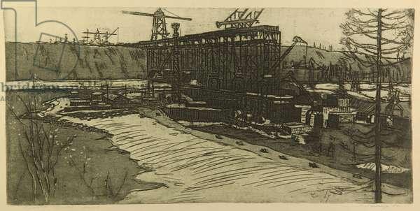 Bratsk Hydro Power Plant, 1961 (etching)