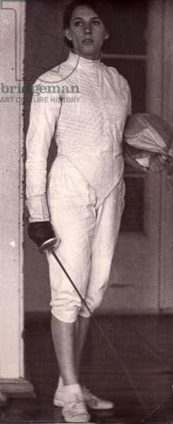 Female Fencer, 1960s (b/w photo)