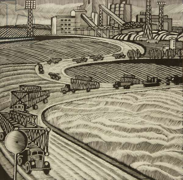 The Construction Site of the Oskol Electrometallurgical Industrial Complex, 1984 (linocut)