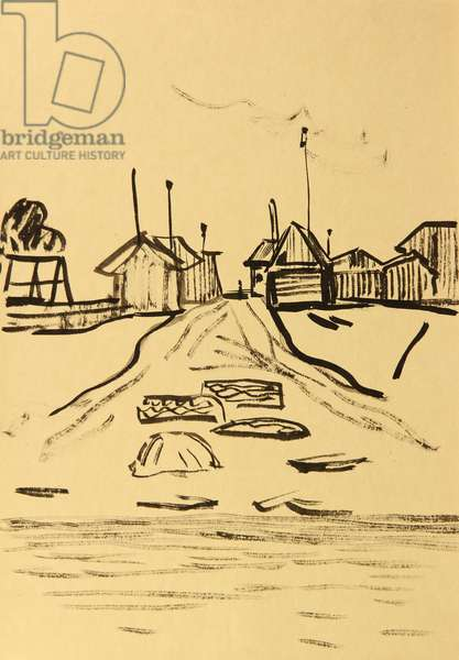 On the Enisei River, 1963 (gouache on paper)