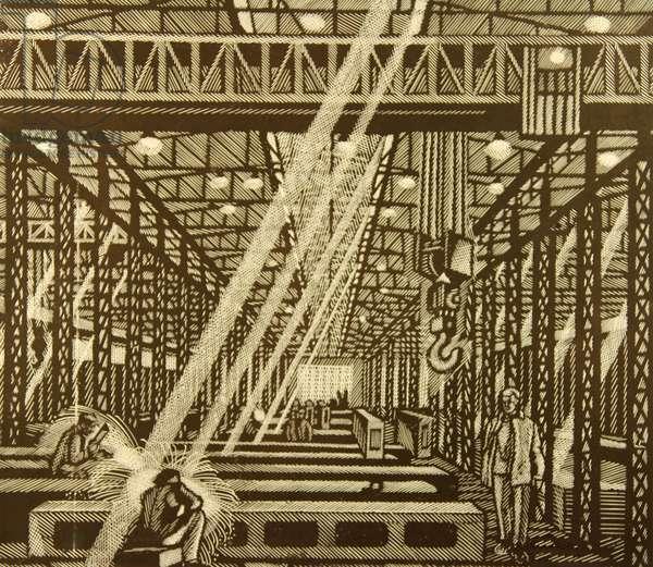 In the Welding Workshop, 1978 (linocut)