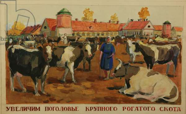 'Let's Increase the Cattle Headcount', design for a poster, 1950s (tempera on paper)