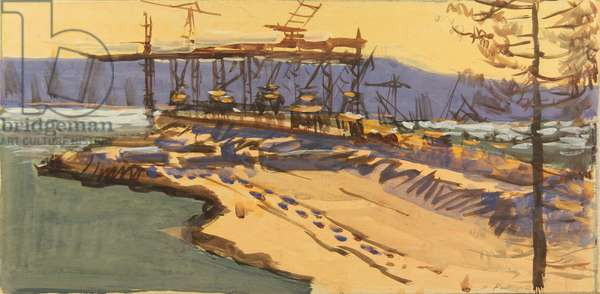 The Hydro Power Plant in Bratsk under construction, 1961 (tempera on paper)