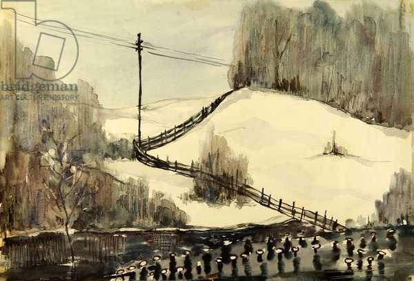 Russian Winter, 1970 (gouache on paper)