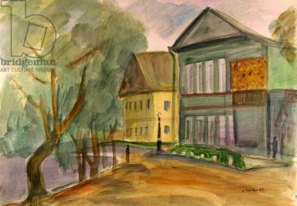 The House in Staraya Russa where Fyodor Dostoyevsky lived., 1985 (w/c on paper)