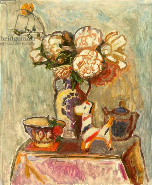 Still Life with Flowers and Figurine, 1980 (oil on card)