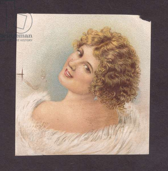 Portrait of a woman, 1900s (colour litho)