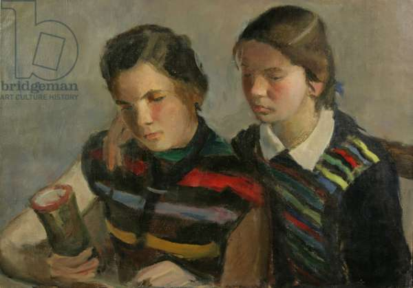 Two Girls with an Award, 1950s (oil on canvas)