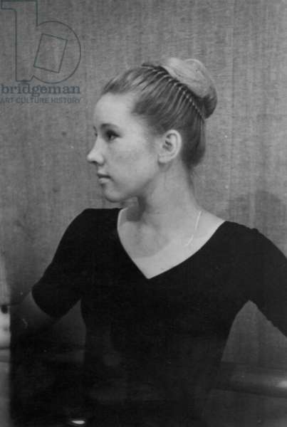 Ballerina during rehearsals at the Bolshoi Theatre, Moscow, 1970s (b/w photo)