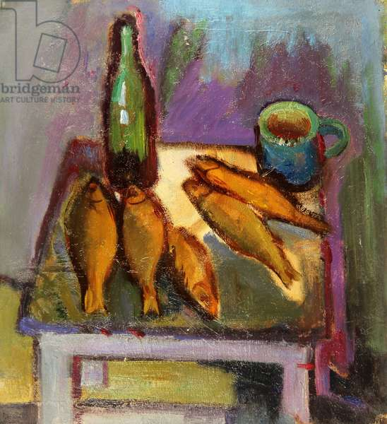 Still Life with Fish and Bottle on a Stool, 1966 (oil on card)