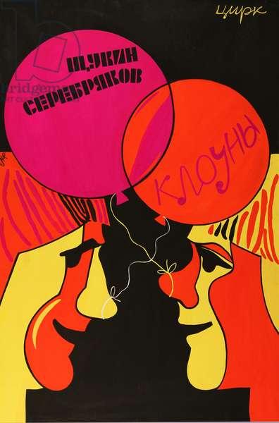 Circus Clowns Schukin and Serebryakov, 1968 (tempera on paper)