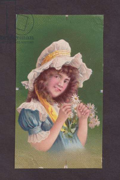 Girl with flowers, 1900s (colour litho)
