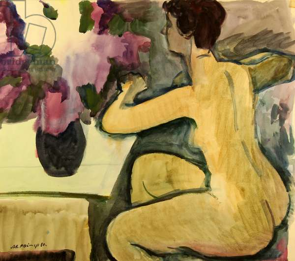 Nude with Lilacs, 1980 (w/c on paper)