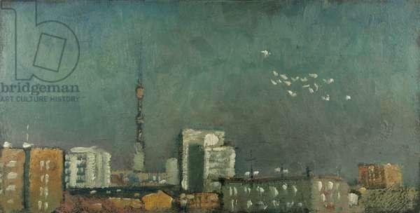 Pigeons, 1983 (oil on canvas)
