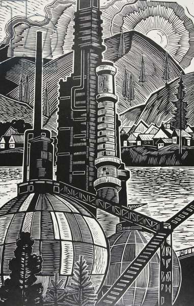 The Ufa Chemical Plant, 1965 (linocut)