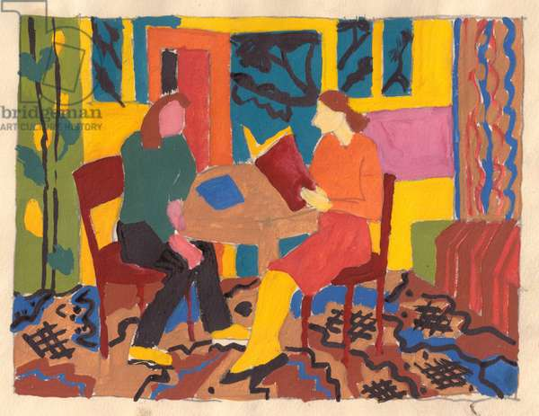 Dormitory  - Village Youth Studying, 1979 (tempera on paper)