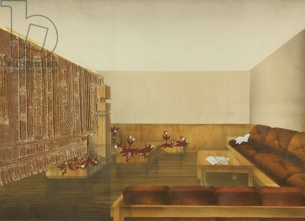 Sketch for the interior of a VIP room at a Russian industrial plant, c.1970 (tempera & collage on paper)