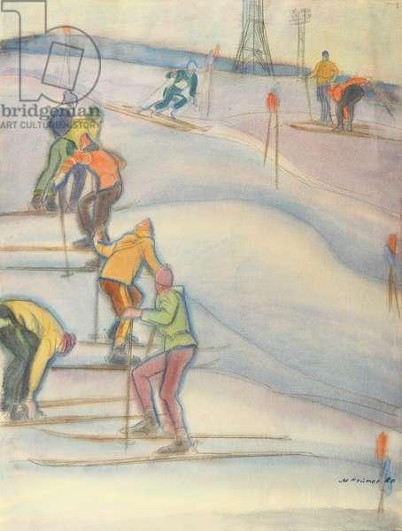 Slalom in the Lenin Hills, 1980 (w/c on paper)