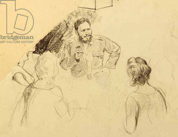 Fidel Castro Speaking at a Local Meeting, 1962 (pencil on paper)
