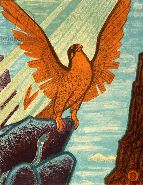The Song About the Falcon, 1980 (colour litho)