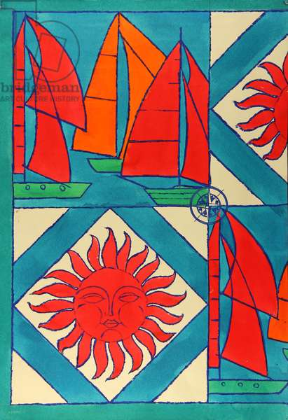 The 1980 Tallinn Sailing Olympics. Design sketch for a scarf , 1979 (gouache on paper)