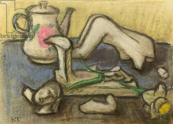 Still Life with Broken Figurine, 1982 (pastel on paper)