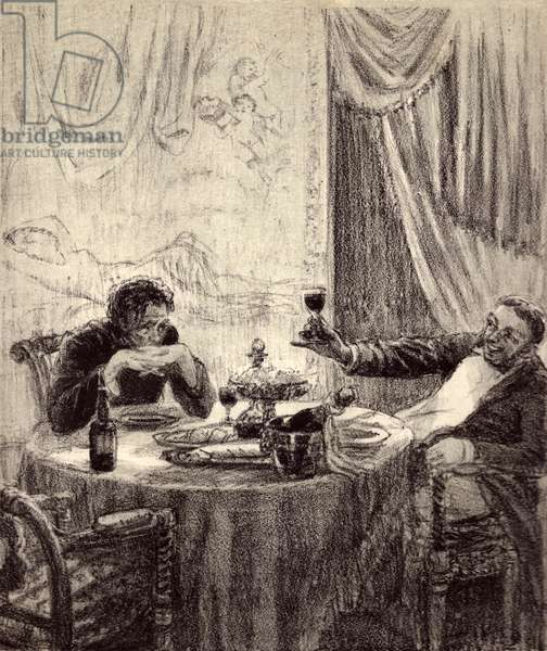 "Alyosha and count Valkovsky at the restaurant, Illustration to Fyodor Dostoyevsky's novel ""Humiliated and Insulted"" (1861), 1949 (litho)"