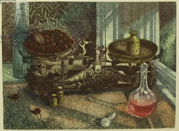 Nocturnal Still Life, 2014 (etching)