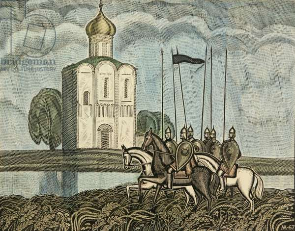 Patrol. The Porov Church on the Nerl River, 1967 (linocut and w/c on paper)