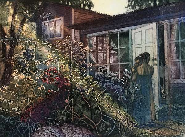 Afternoon at the Dacha II, 2019 (etching)