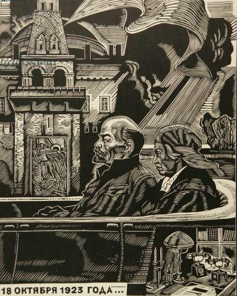 The Last Trip, Lenin and Krupskaya, 1989 (linocut)